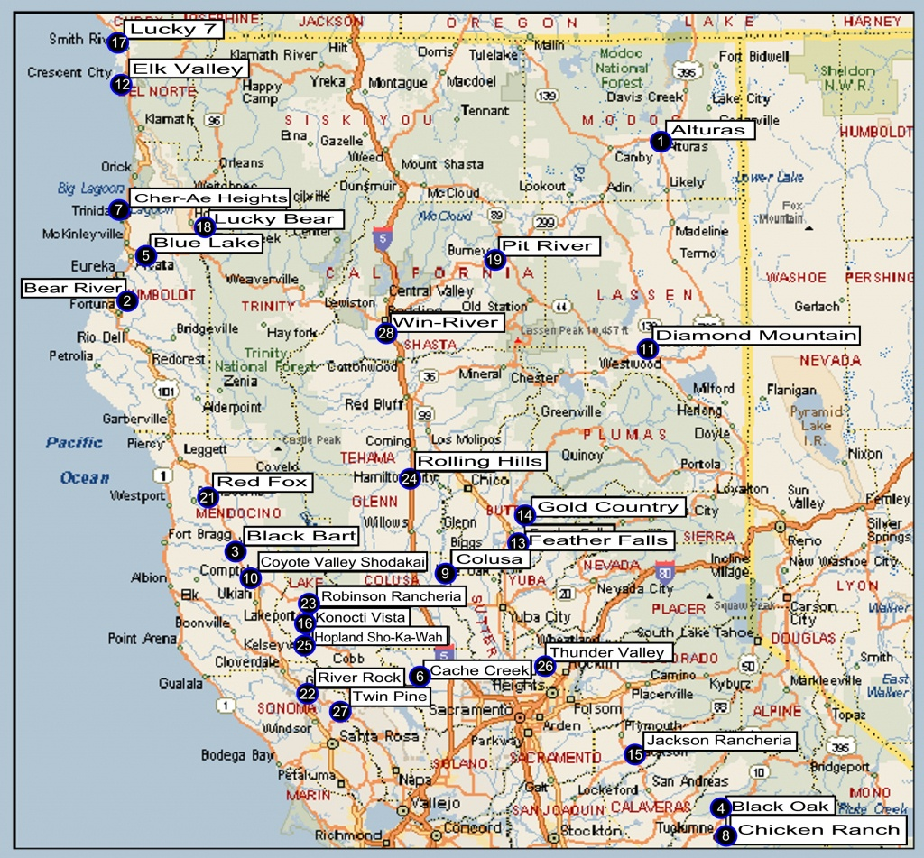 Northern California Regional Directory - California Indian Casinos Map