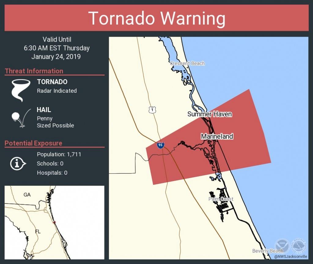 """Nws Jacksonville On Twitter: """"tornado Warning Including Marineland - Marineland Florida Map"""