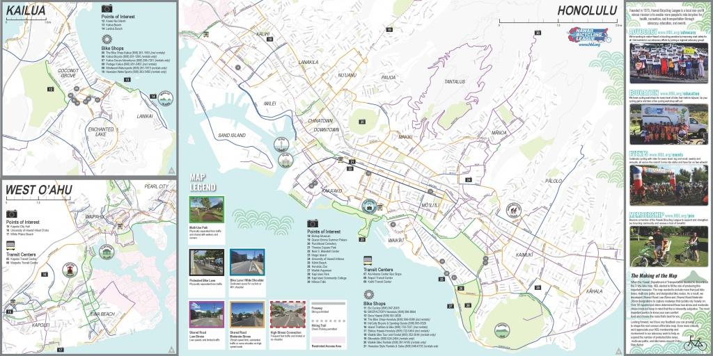 Oahu Bike Map - Hawaii Bicycling League - Oahu Map Printable