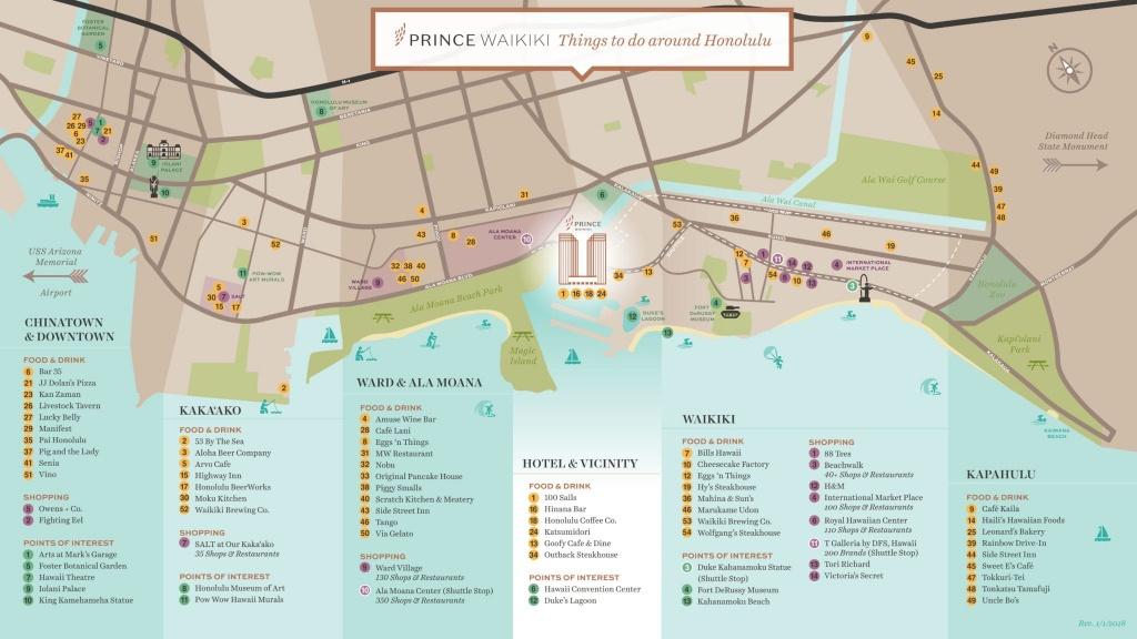 Oahu Directions - Hotels In Waikiki | Prince Waikiki - Printable Map Of Waikiki