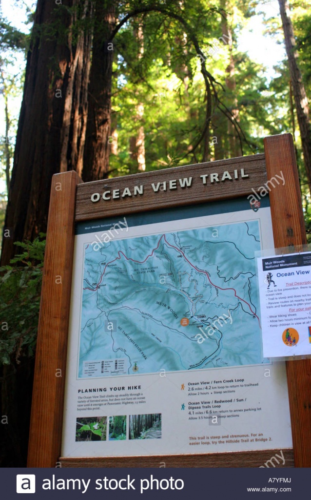 Ocean View Trail Sign And Map, Muir Woods National Monument, Mill - Muir Woods Map California