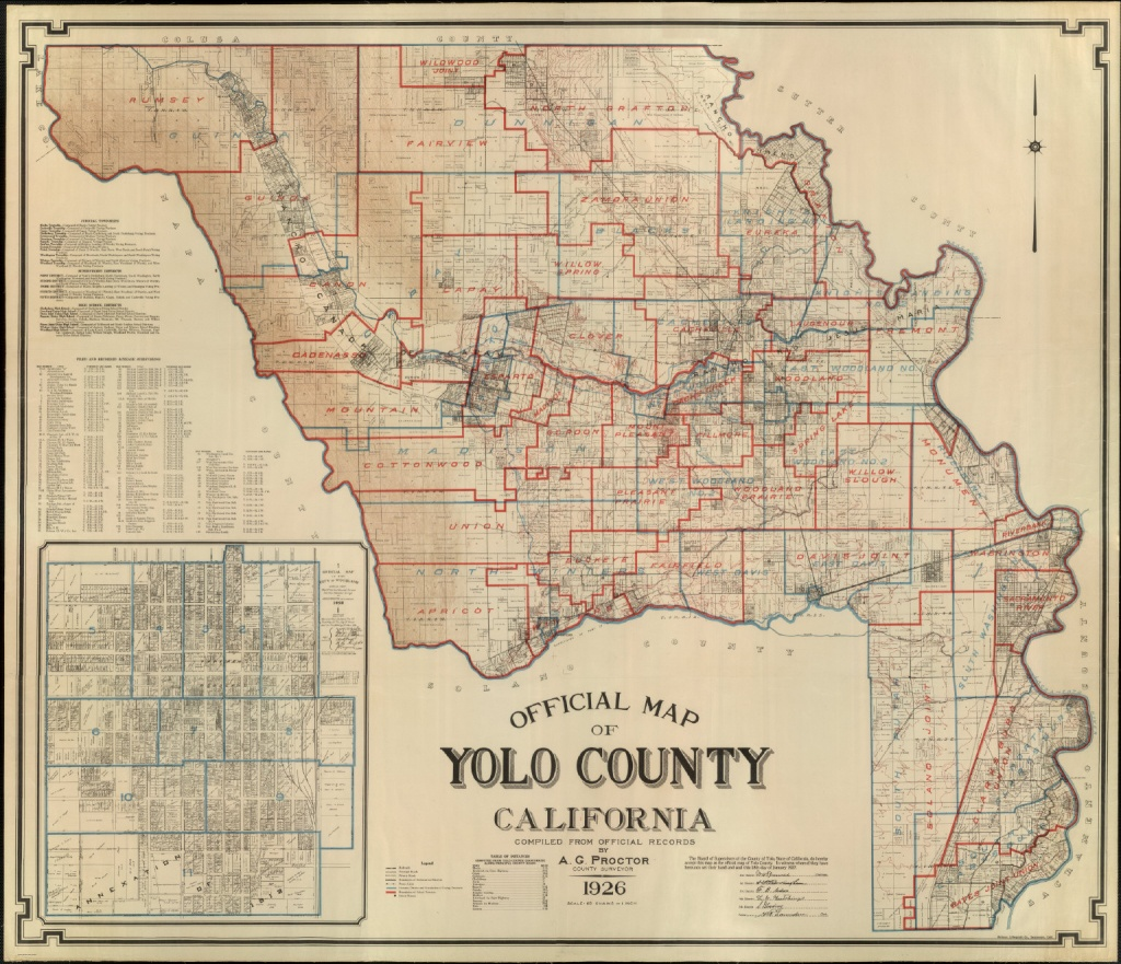 Official Map Of Yolo County, California, 1926. - David Rumsey - California Township And Range Map