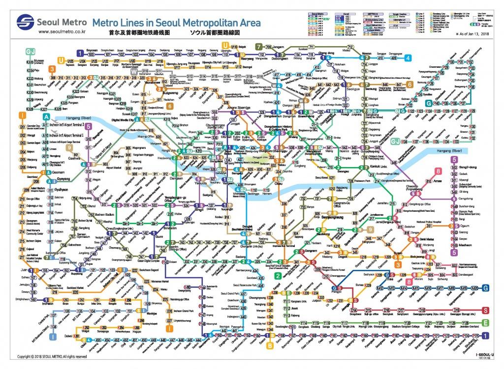 Official Site Of Korea Tourism Org.: Transportation : Seoul Subway Map - Printable Subway Map