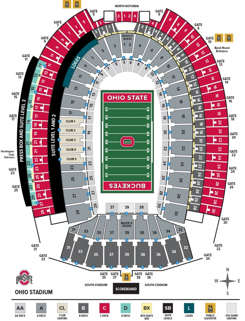 Ohio Stadium Seating Chart – Ohio State Buckeyes - University Of Texas Stadium Seating Map