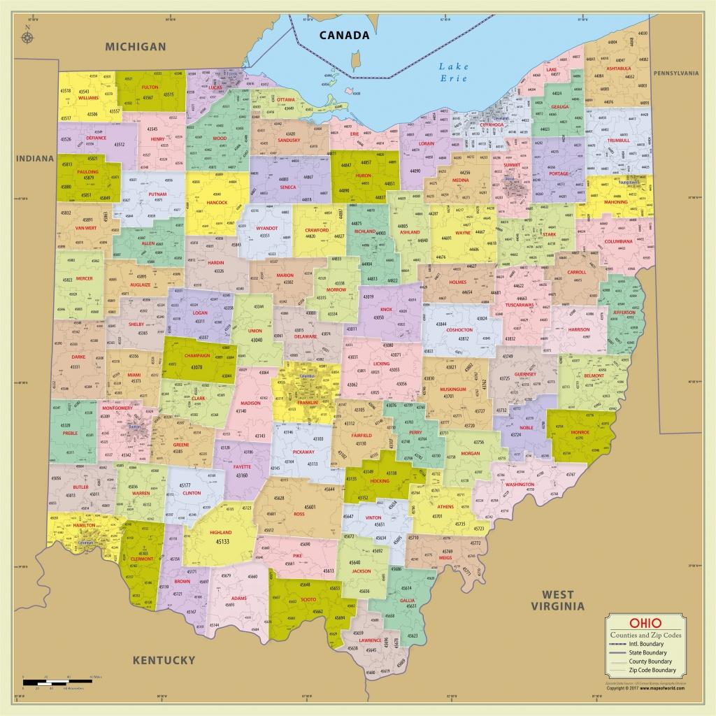 Ohio State Map Printable Ohio Zip Code Map With Counties 48 W X 48 H - Ohio State Map Printable