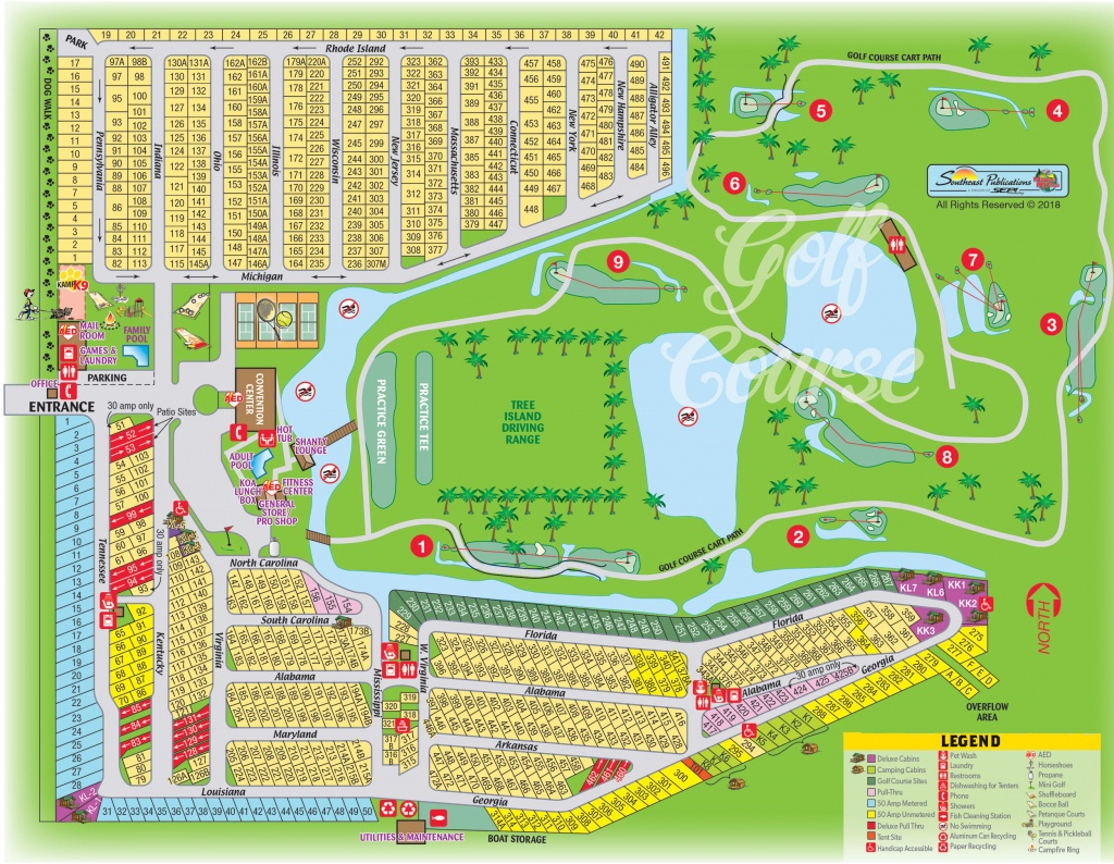 Okeechobee, Florida Campground   Okeechobee Koa - Florida Rv Campgrounds Map