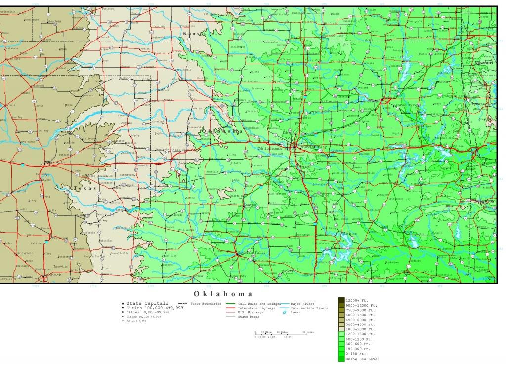Oklahoma Elevation Map - Printable Map Of Norman Ok