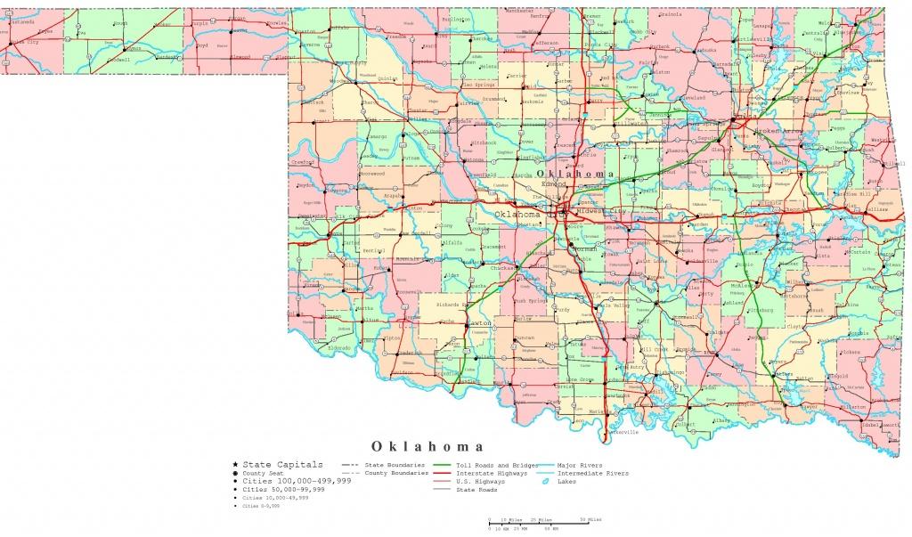 Oklahoma Printable Map - Oklahoma State Map Printable