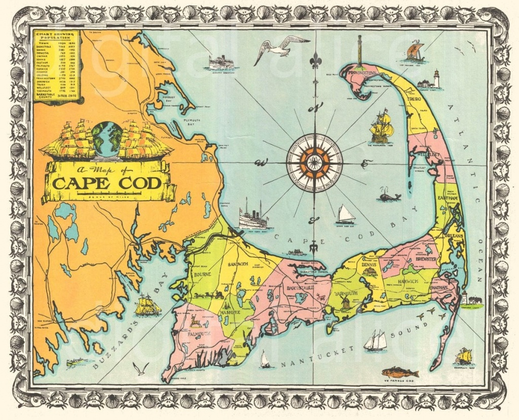 Old Cape Cod Map Download Colorful 1939 Cape Cod Mass | Etsy - Printable Map Of Cape Cod Ma