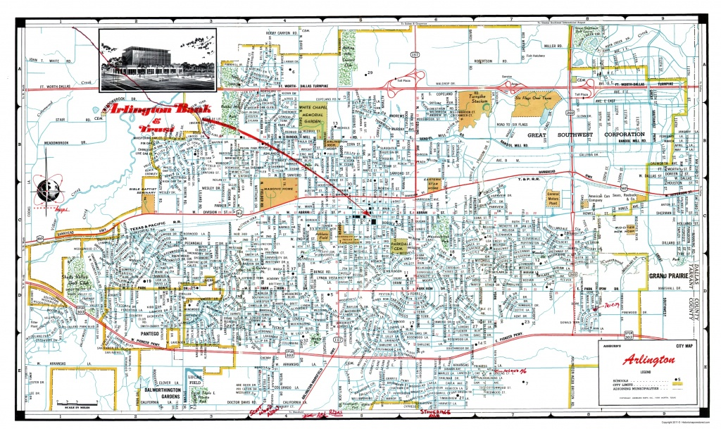 Old City Map - Arlington Texas - Ashburn 1960 - Arlington Texas Map