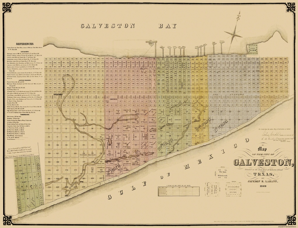 Old City Map - Galveston Texas Landowner - Labatt 1869 - Texas Land Ownership Map