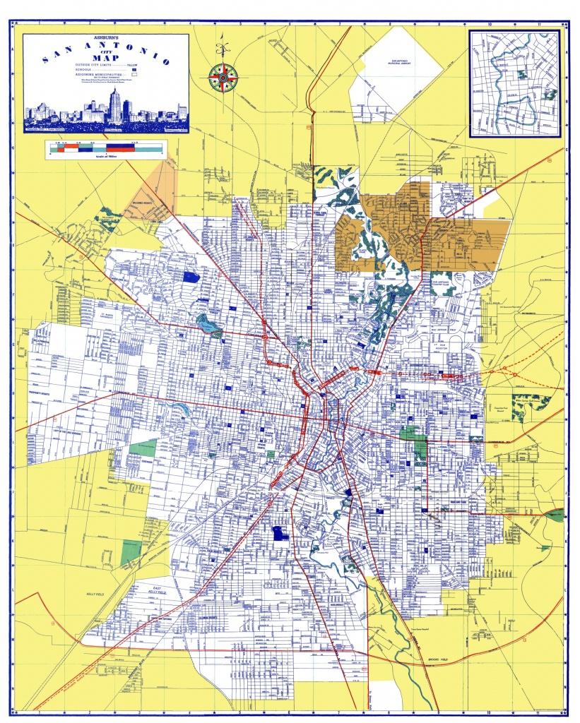 Old City Map - San Antonio Texas - Ashburn 1950 - Detailed Map Of San Antonio Texas