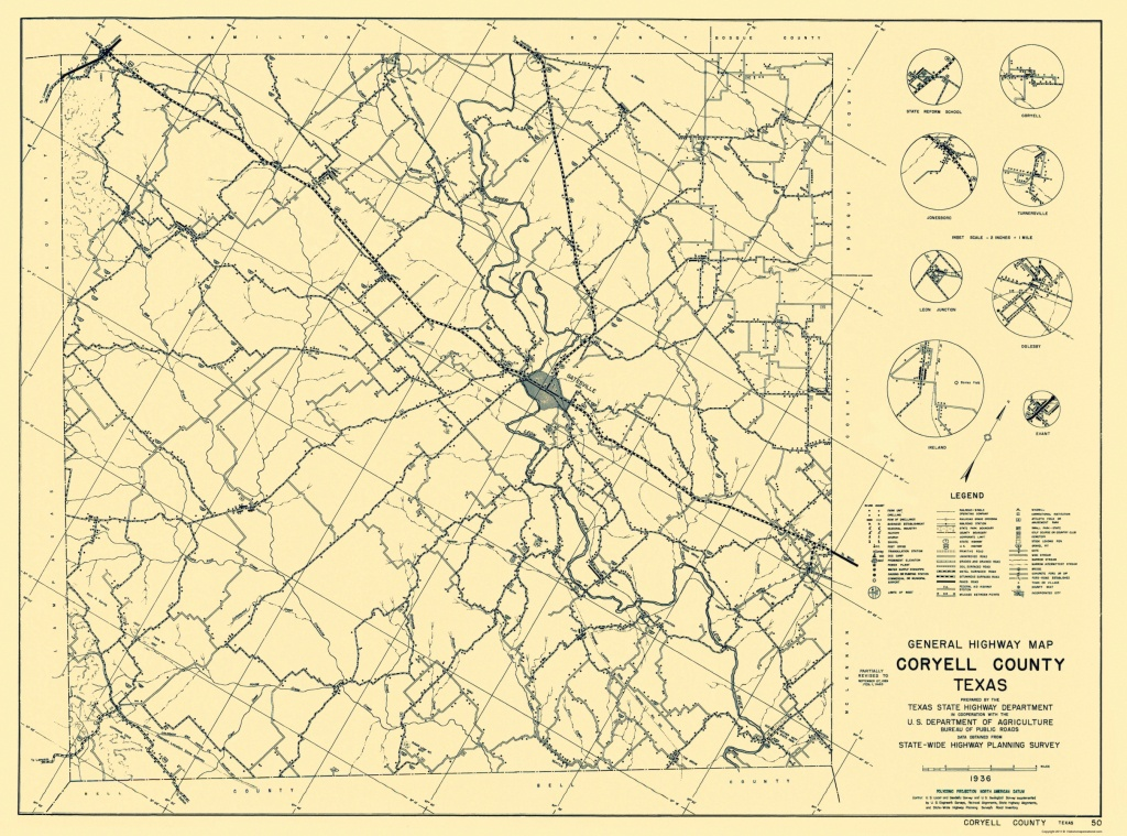 Old County Map - Coryell Texas Highway 1936 - Coryell County Texas Map