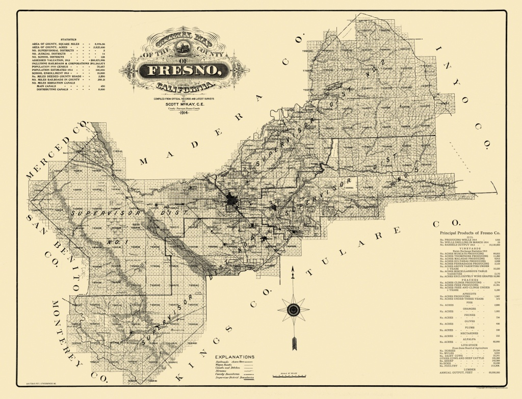 Old County Map - Fresno California - 1914 - 30.06 X 23 - Fresno California Map