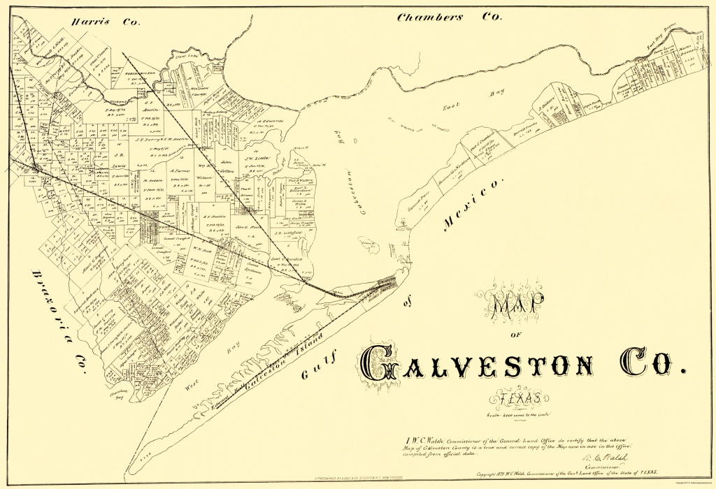 Old County Map - Galveston Texas - Land Office 1879 - Texas Galveston Map