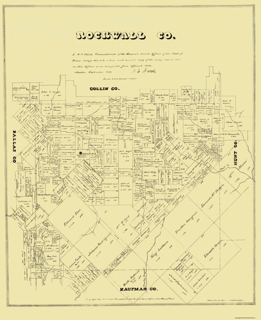 Old County Map - Rockwall Texas Landowner - 1880 - 23 X 28.19 - Texas Land Ownership Map