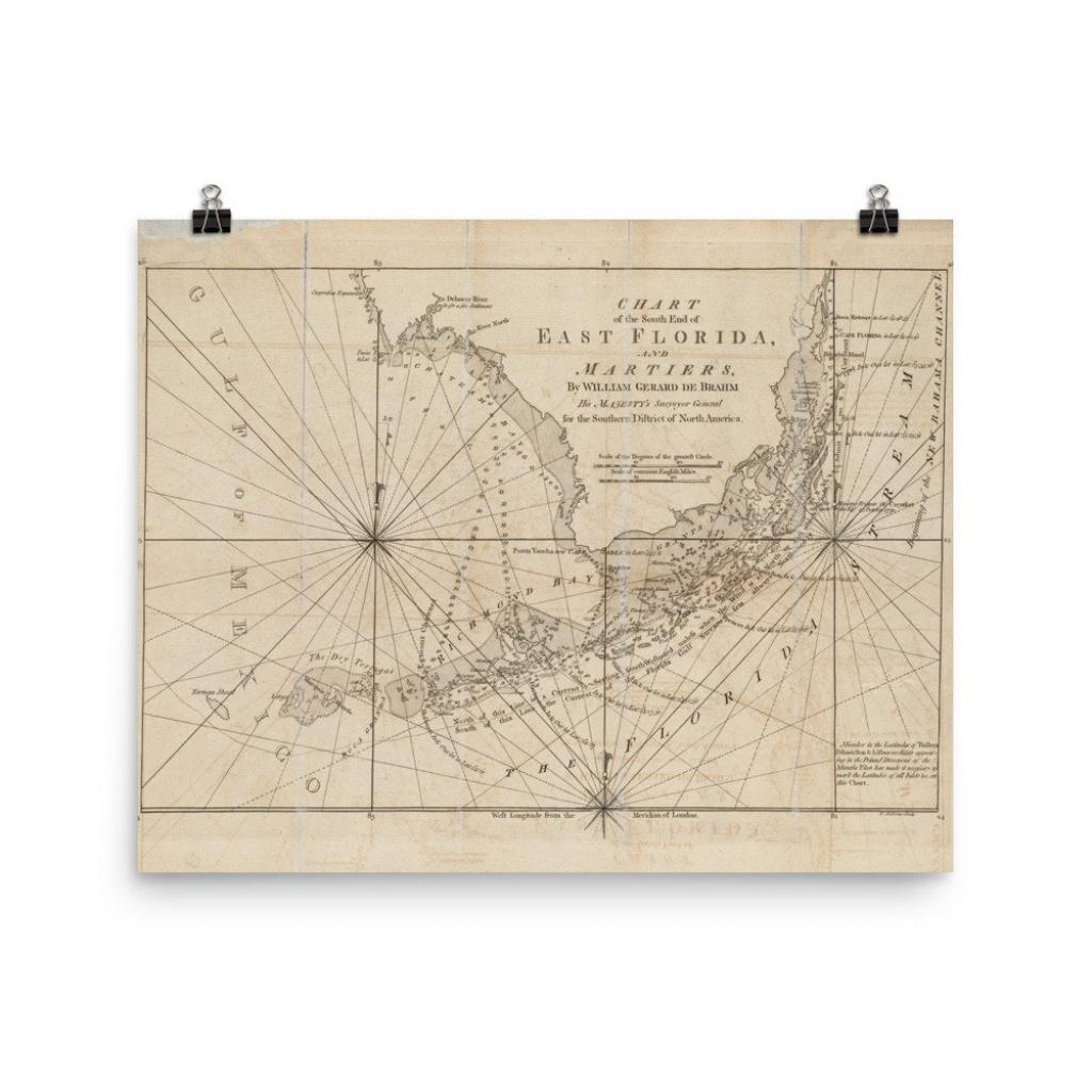 Old Florida Keys Map 1771 Vintage Southern Fl Atlas Poster | Etsy - Florida Keys Map Poster