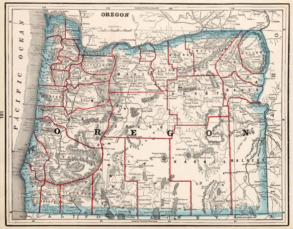 Old Historical City, County And State Maps Of Oregon - Oregon Road Map Printable