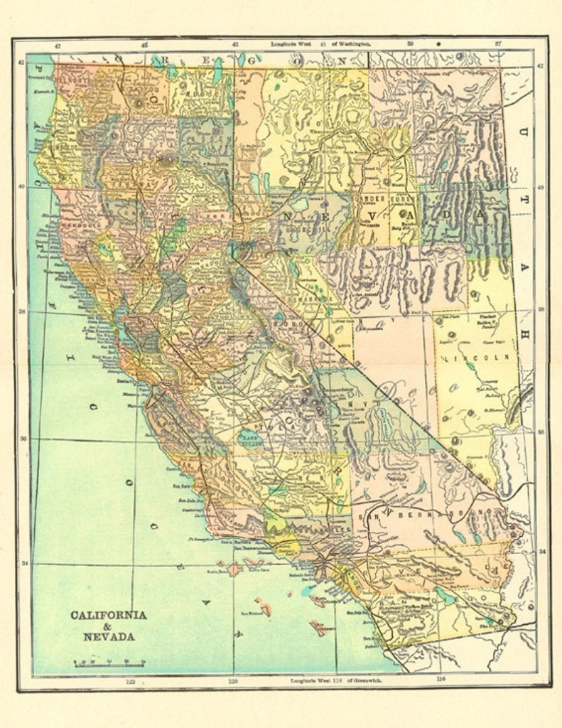 Old Map Of California Over 100 Years Old A Printable Map For | Etsy - California Map Old