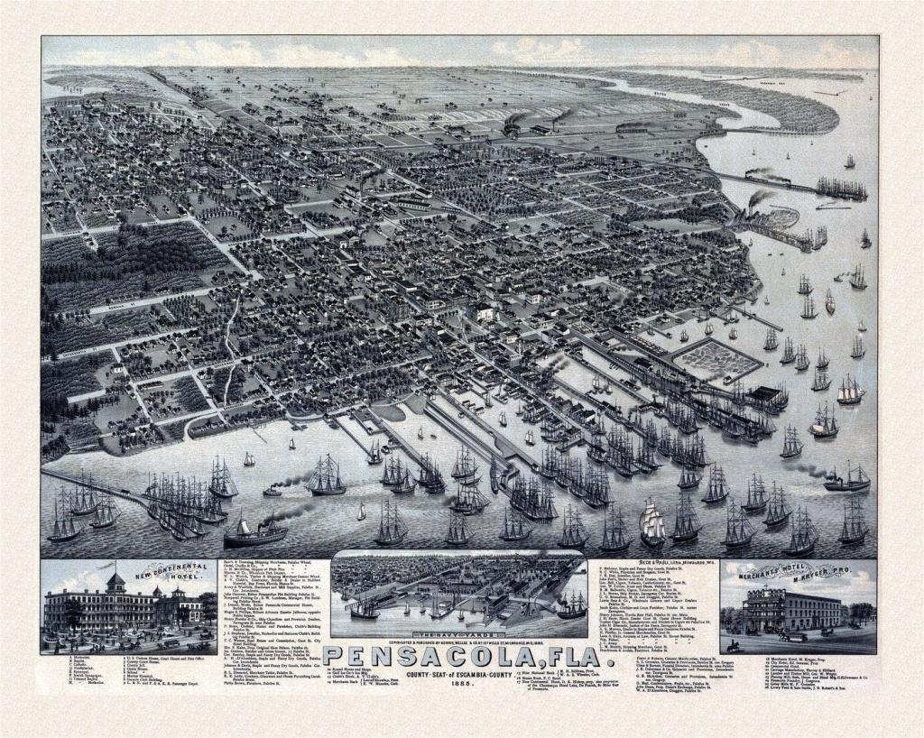 Old Map Of Pensacola Florida 1885 Escambia County   Vacations - Old Maps Of Pensacola Florida