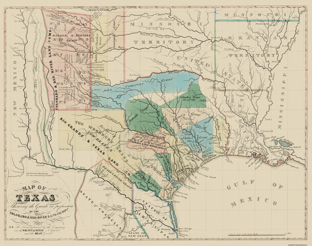 Old Map - Texas, Colorado, Red River Land Grants 1821 - Texas Land Grants Map