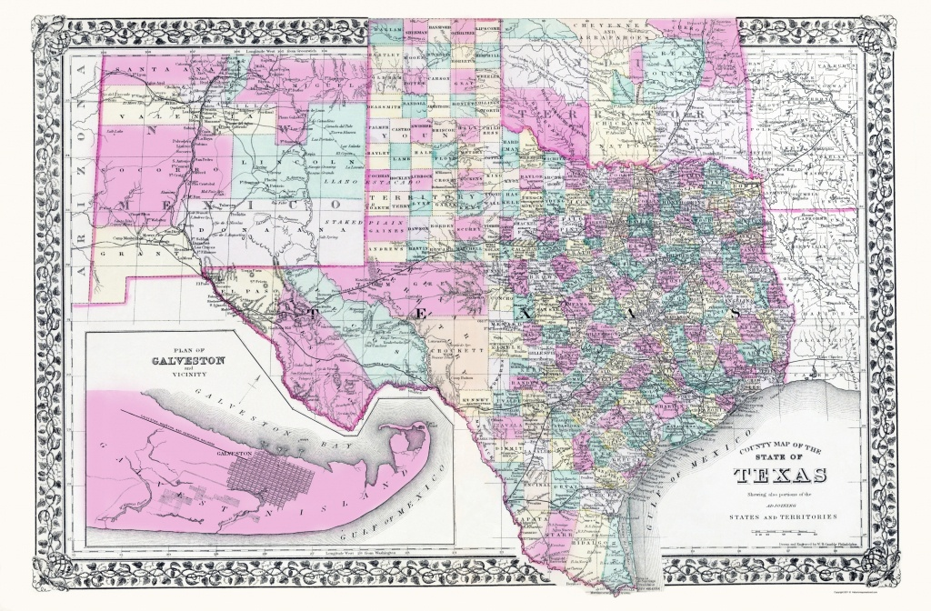 Old Map - Texas, New Mexico And Indian Territory 1890 - Texas New Mexico Map