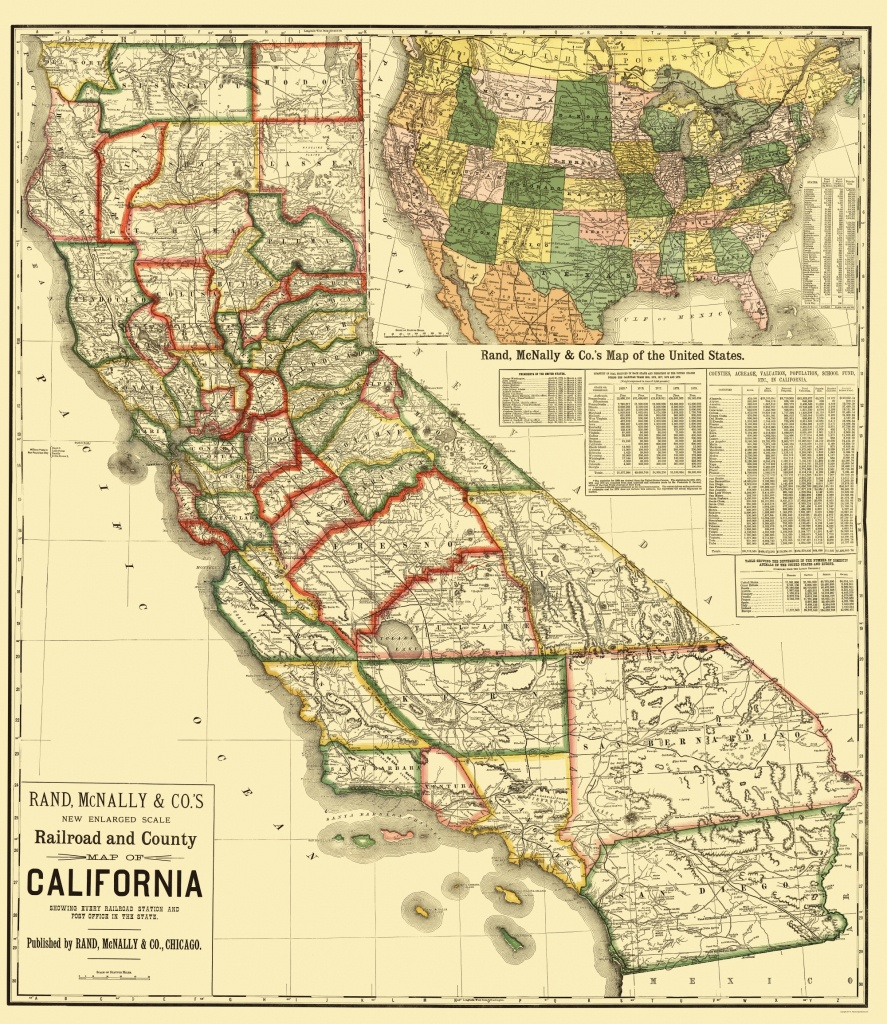 Old Railroad Map - California Railroad And Counties 1883 - California Railroad Map
