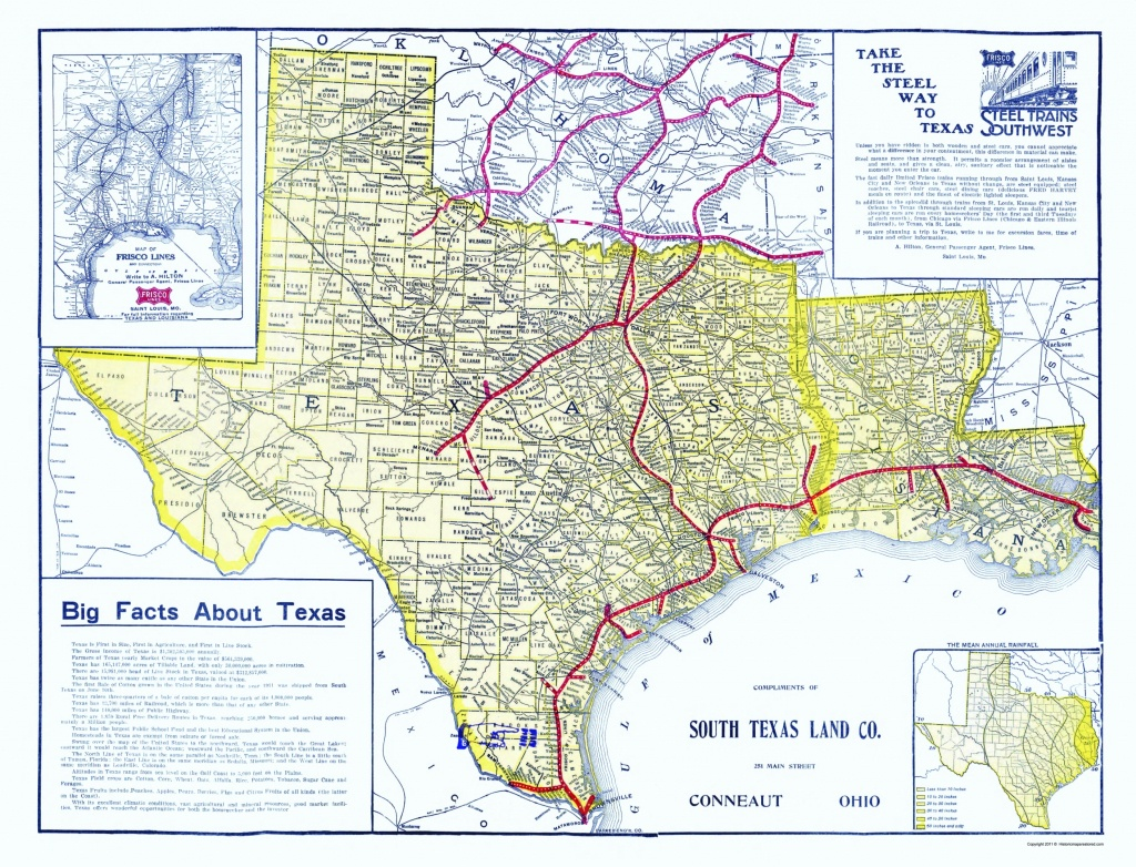 Old Railroad Map - Frisco Lines 1911 - Map Of South Texas