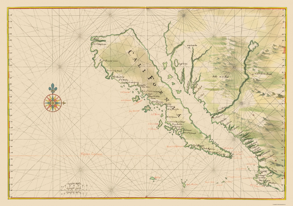 Old State Map - California - 1650 - California Map Old