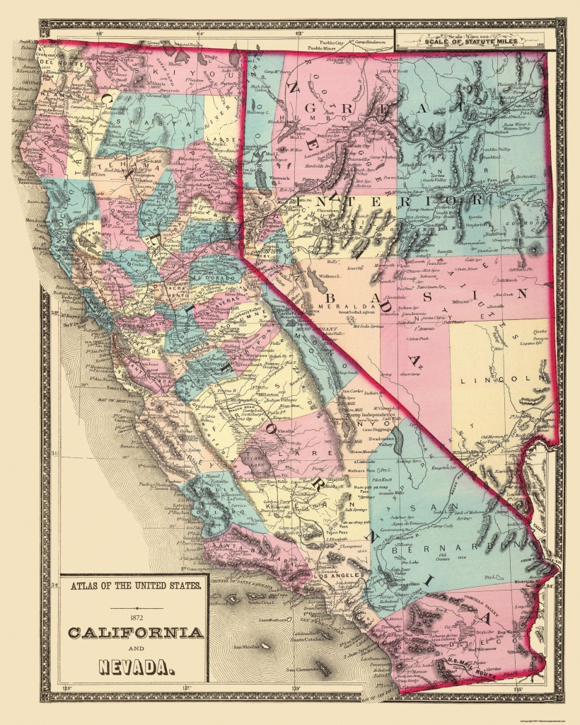 Old State Map - California, Nevada - 1872 - Map Of California And Nevada