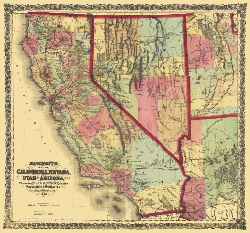 Old State Map - California, Nevada, Utah, Arizona 1873 - Map Of California And Nevada