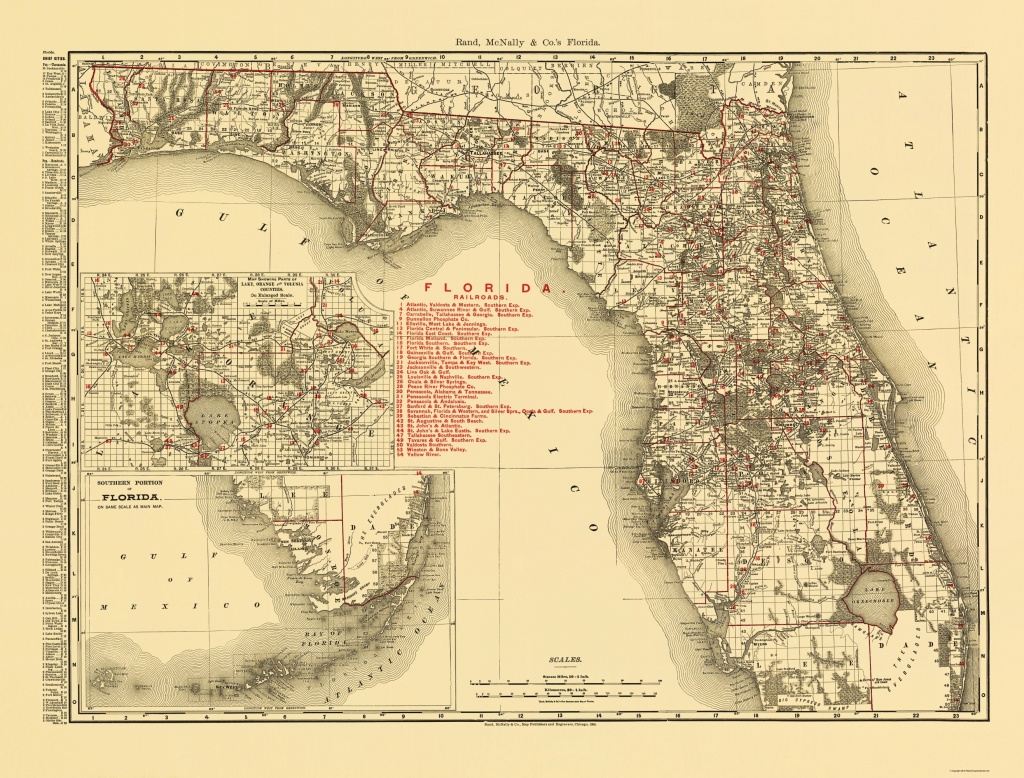 Old State Map - Florida - Rand Mcnally 1900 - Florida Map 1900