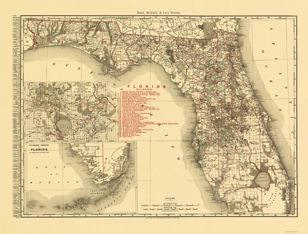 Old State Map - Florida - Rand Mcnally 1900 - Florida Old Map