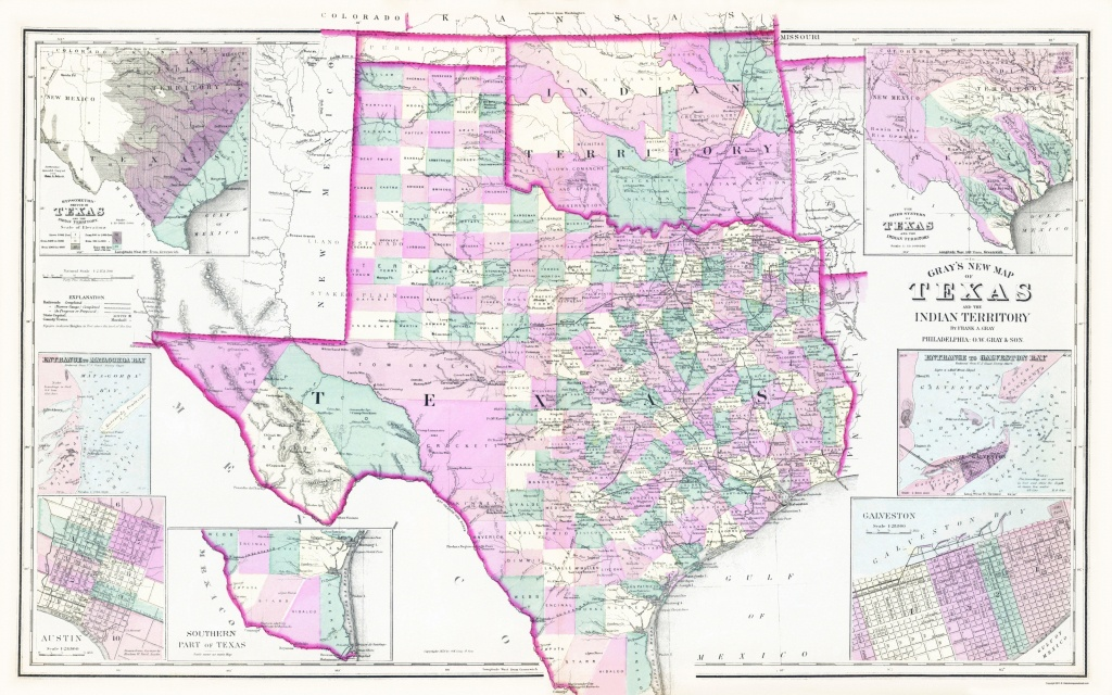 Old State Map - Texas, Oklahoma Indian Territory 1876 - Map Of Oklahoma And Texas