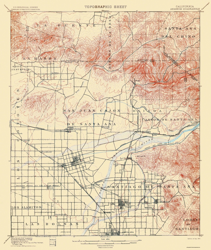 Old Topographical Map - Anaheim California 1901 - Anaheim California Map