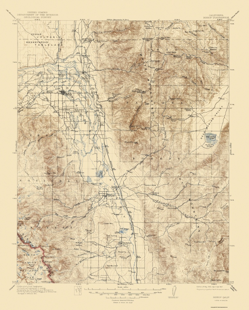 Old Topographical Map - Bishop California 1913 - Map Of Bishop California Area