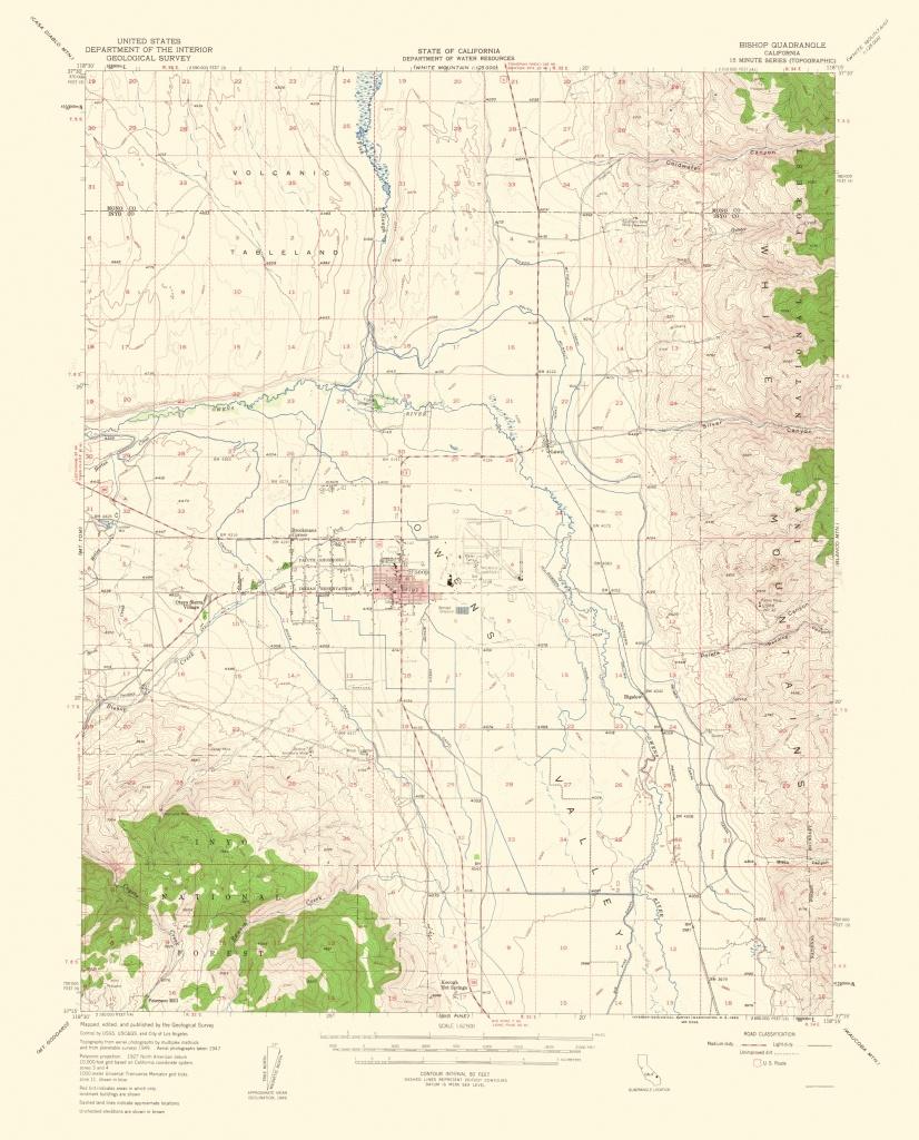 Old Topographical Map - Bishop California 1963 - Bishop California Map