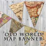 Old World Map Printable Banner Includes 3 Sizes Instant | Etsy   Printable Map Banner
