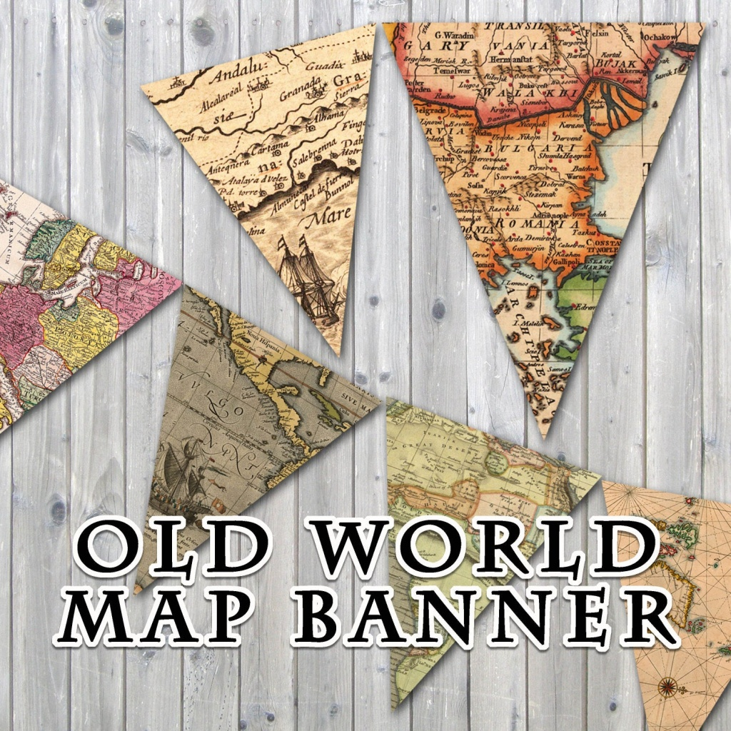 Old World Map Printable Banner Includes 3 Sizes Instant | Etsy - Printable Map Banner