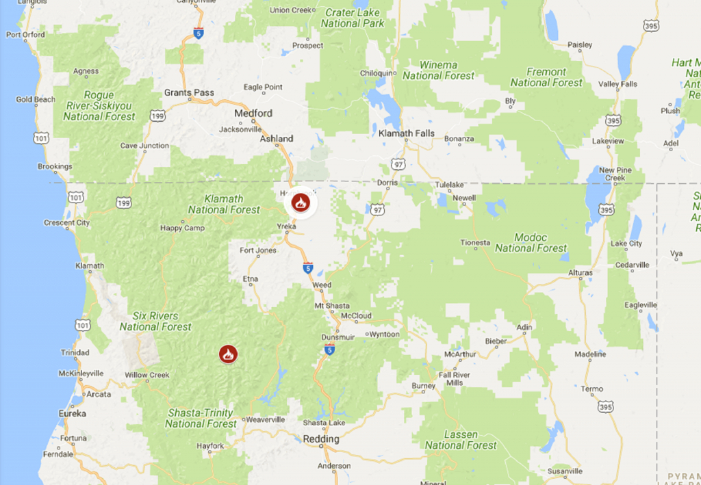 One Person Dies In Wildfire Near California-Oregon Border | The - California Oregon Border Map