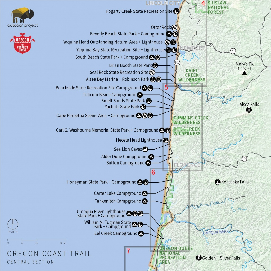 Oregon Coast Map Pdf | Secretmuseum - Map Of Oregon And California Coastline