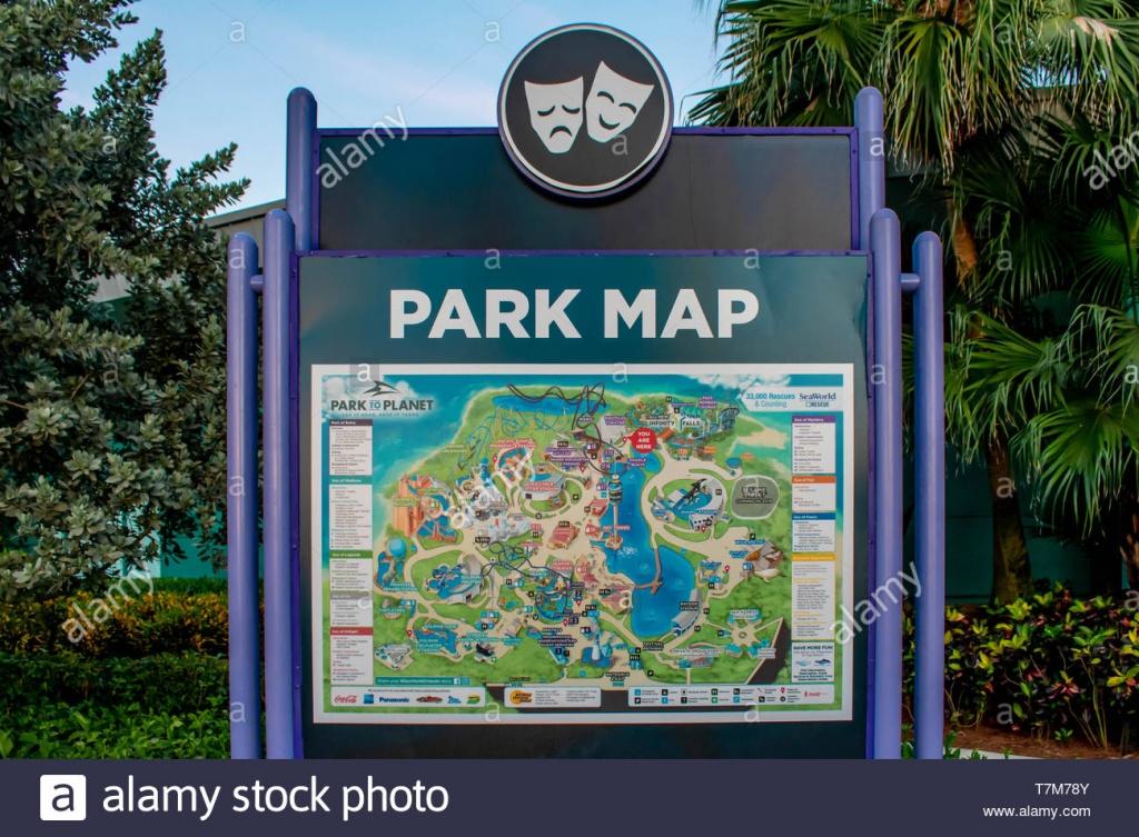 Orlando, Florida. April 7, 2019. Park Map Sign At Seaworld In - Sea World Florida Map