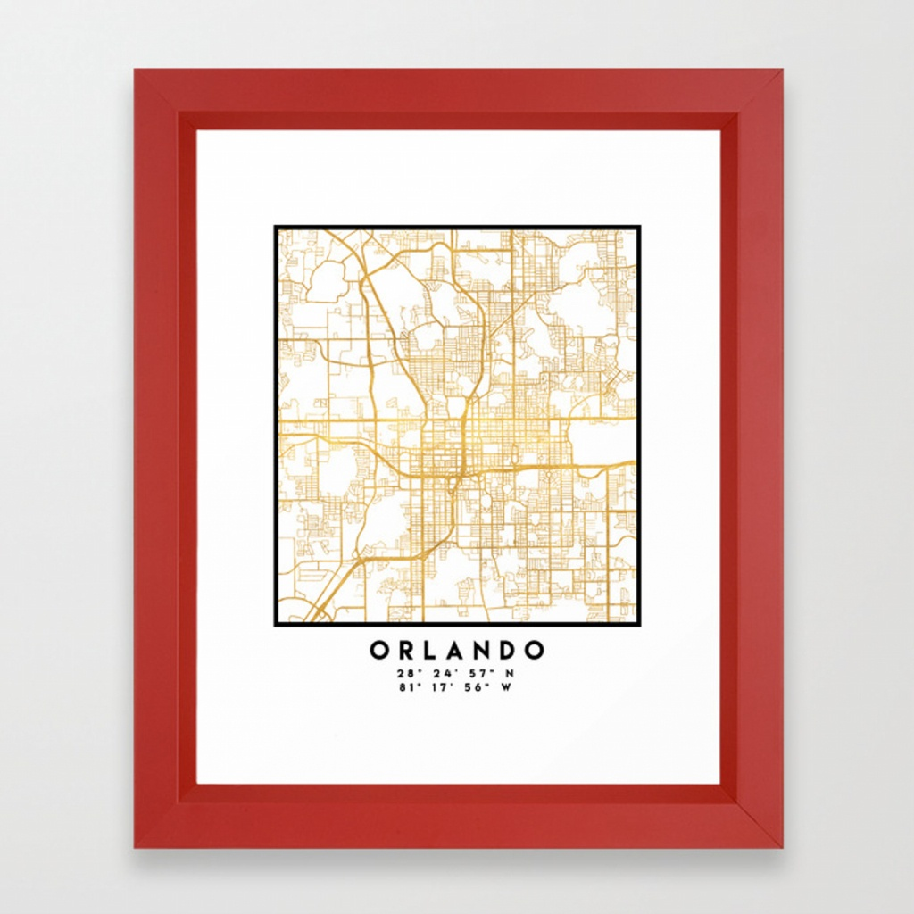 Orlando Florida City Street Map Art Framed Art Printdeificusart - Street Map Of Orlando Florida