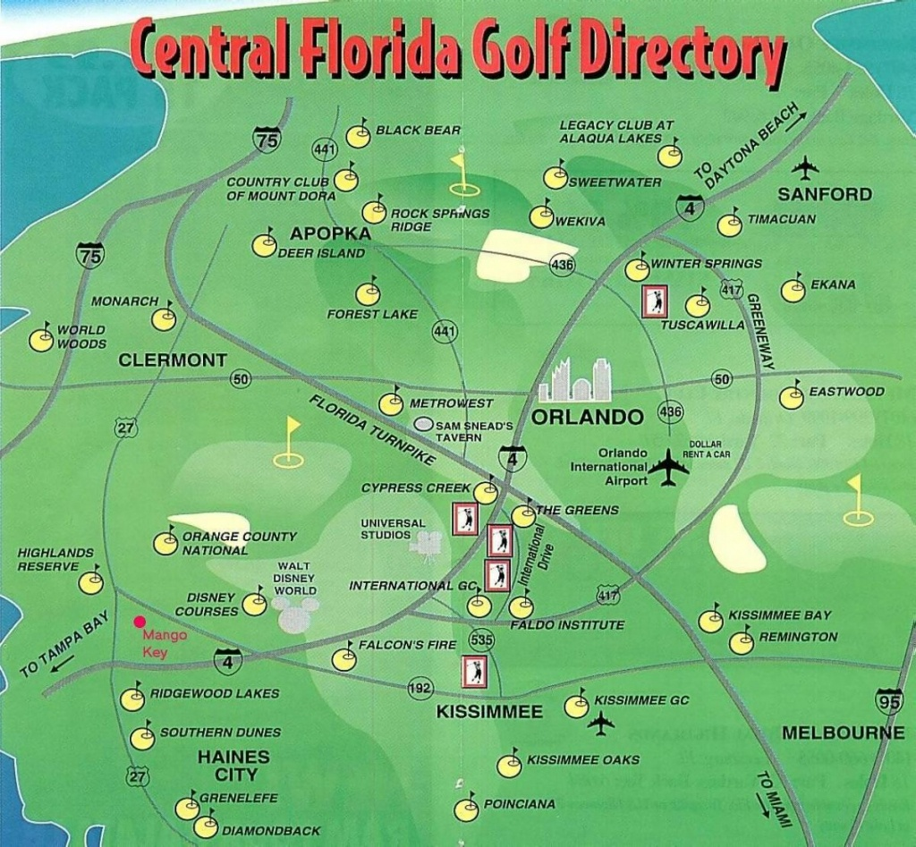 Orlando Golf Courses Map - Map Of Orlando Golf Courses (Florida - Usa) - Map Of Central Florida Golf Courses