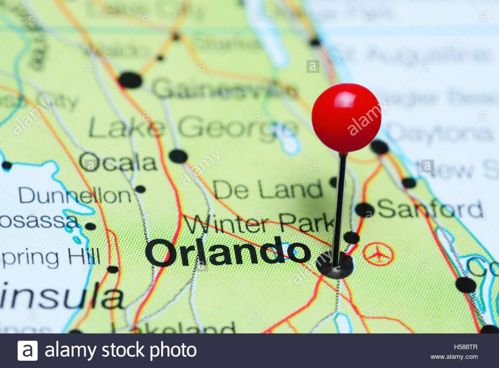 Orlando Pinned On A Map Of Florida, Usa Stock Photo: 123728439 - Alamy - Map Of Florida Near Orlando