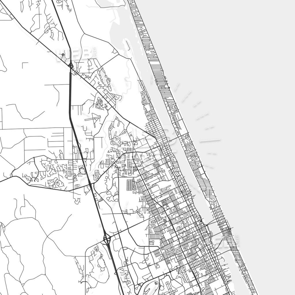 Ormond Beach, Florida - Area Map - Light | Hebstreits Sketches - Street Map Of Ormond Beach Florida