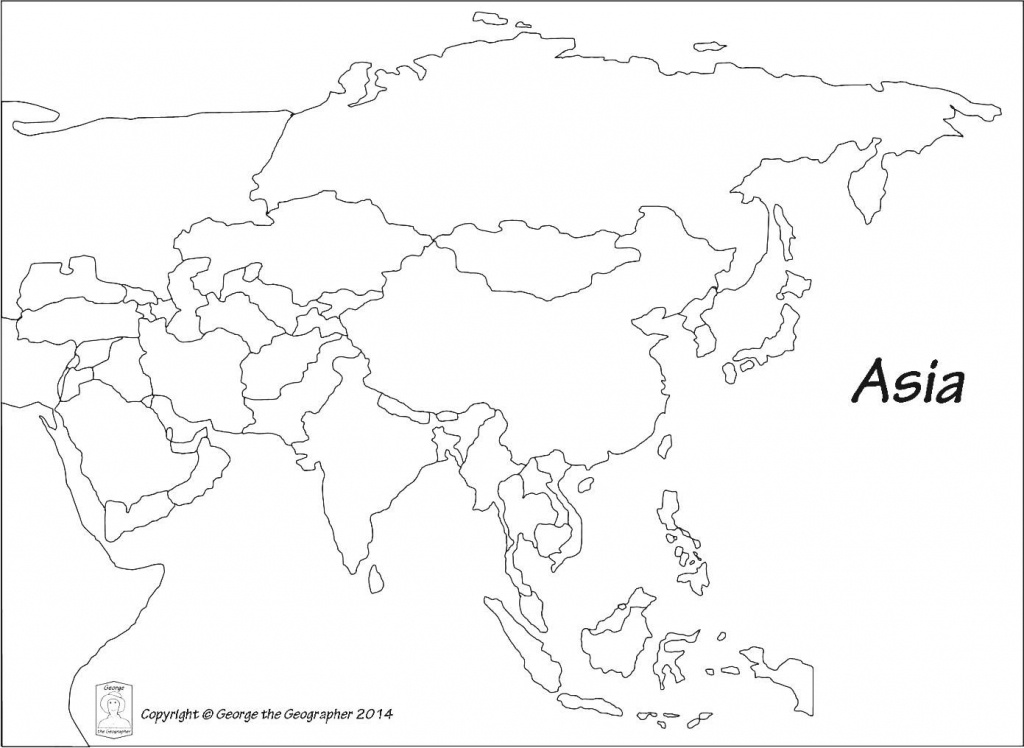 Outline Map Of Asia Political With Blank Outline Map Of Asia - Printable Map Of Asia With Countries