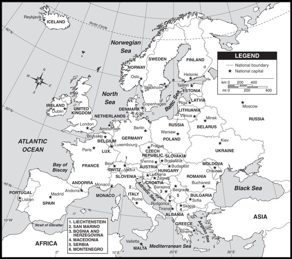 Outline Map Of Europe Countries And Capitals With Map Of Europe With - Free Printable Map Of Europe With Countries And Capitals