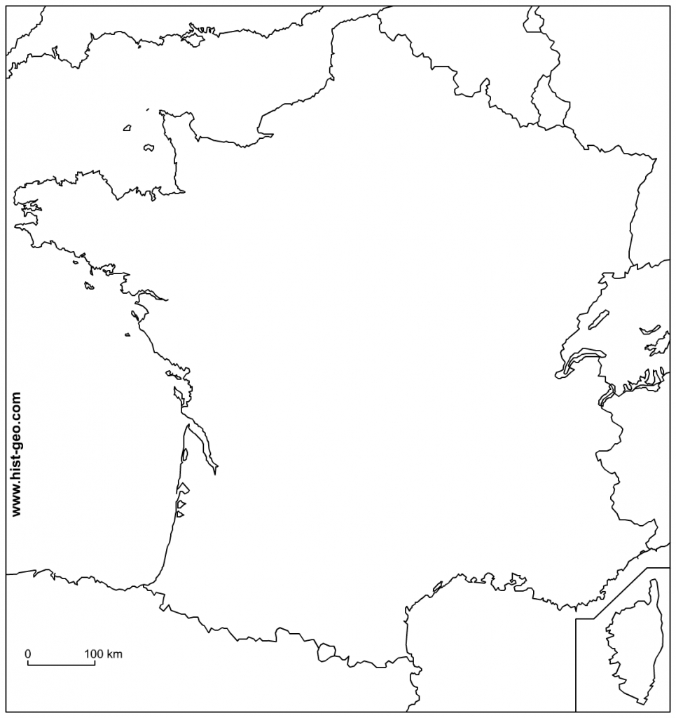 Outline Map Of France With Borders - Map Of France Outline Printable