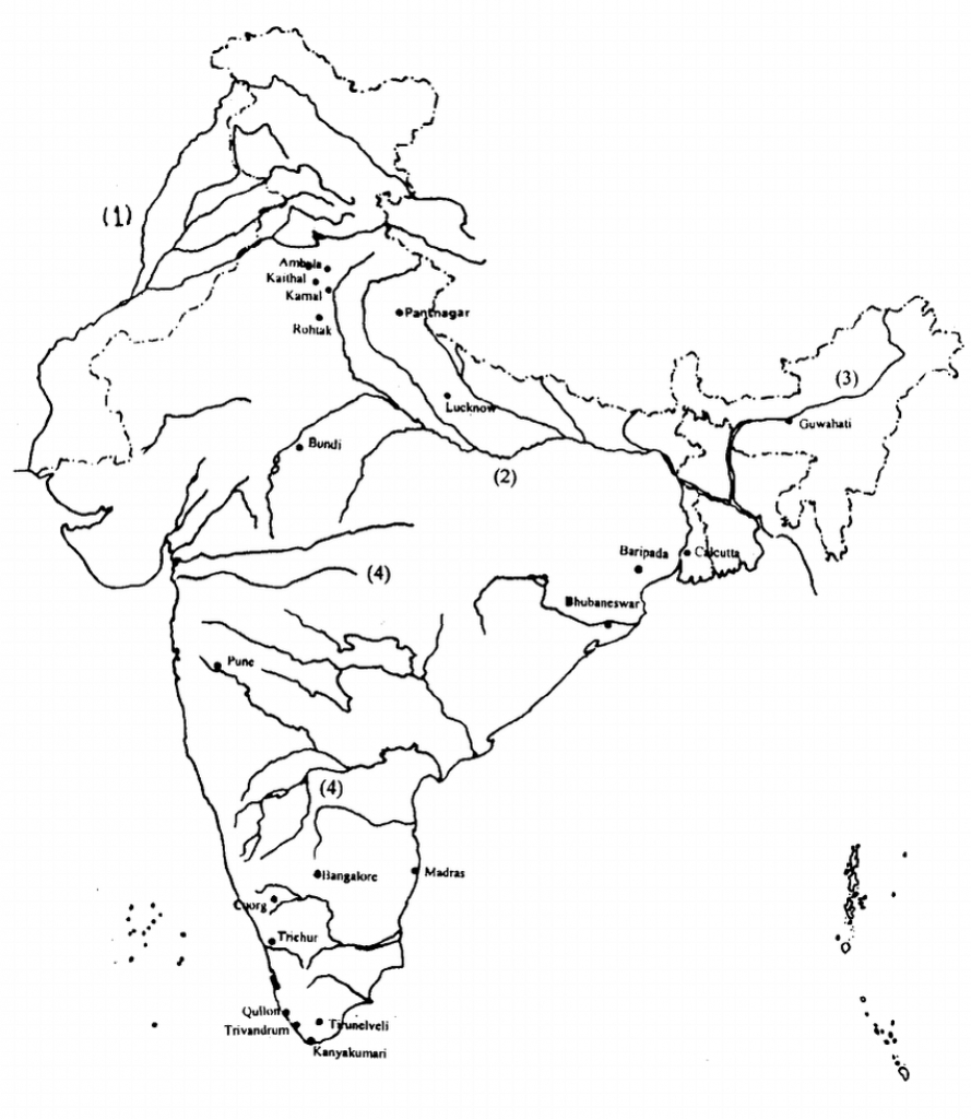 Outline Map Of India Showing The Major River Systems-Indus (1 - India River Map Outline Printable